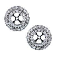 14k White Gold Round Multi-Row Diamond Earring Jackets ...