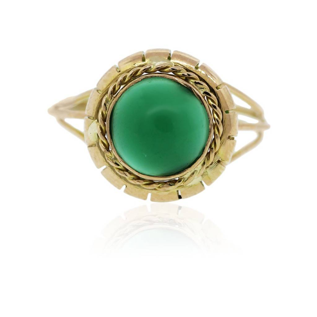 18k Yellow Gold Vintage Jade Gemstone Ring Boca Raton