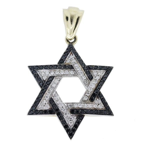 14k White Gold Black And Diamond Star Of David Pendant