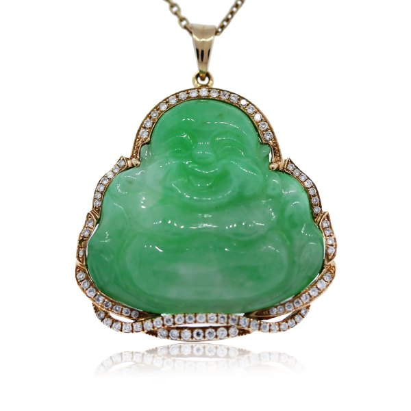 14k Yellow Gold Diamond And Jade Buddha Pendant Chain