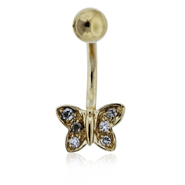 14k Yellow Gold And Diamond Butterfly Belly Button Ring-boca Raton