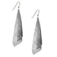 Tiffany & Co. Sterling Silver Mesh Scarf Earrings-Boca Raton