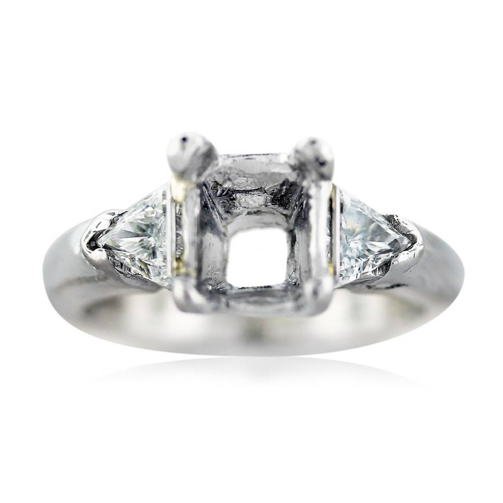 Platinum Three Stone Engagement Ring Setting with Trillions