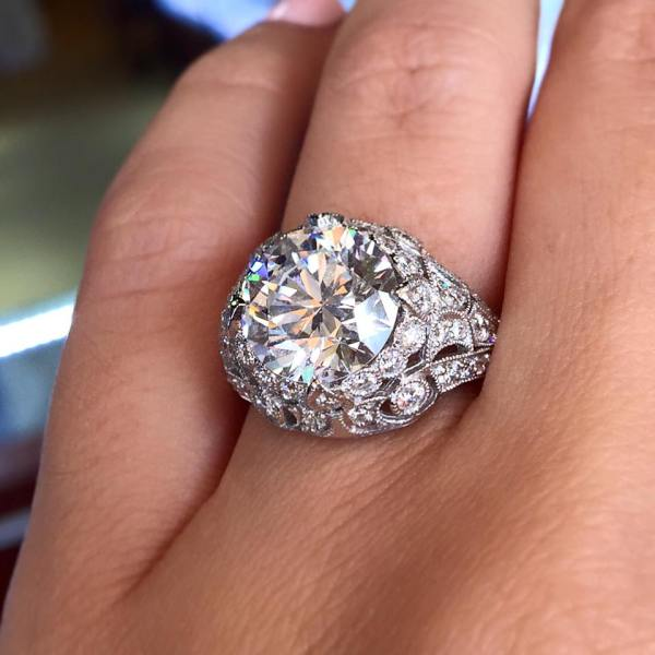 Platinum Gia Cert. 3.80ct Diamond Engagement Ring