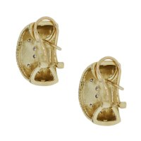 14K Yellow Gold and Diamond Huggie Earrings-Boca Raton
