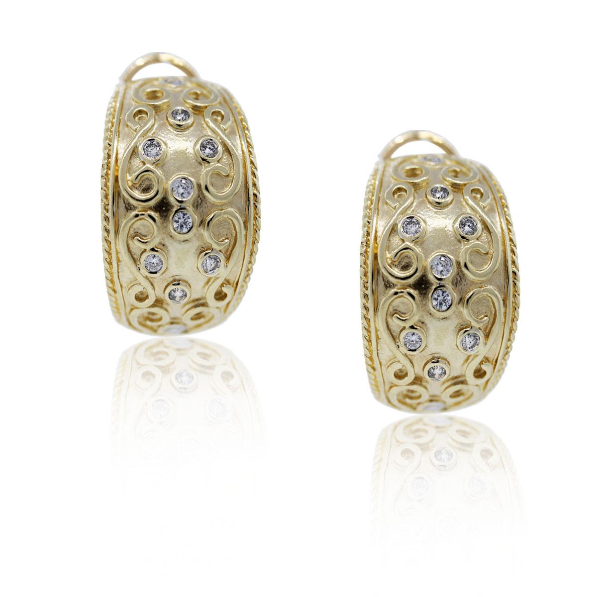 14K Yellow Gold and Diamond Huggie Earrings