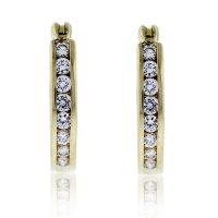 14k Yellow Gold Diamond Small Hoop Earrings-Boca Raton