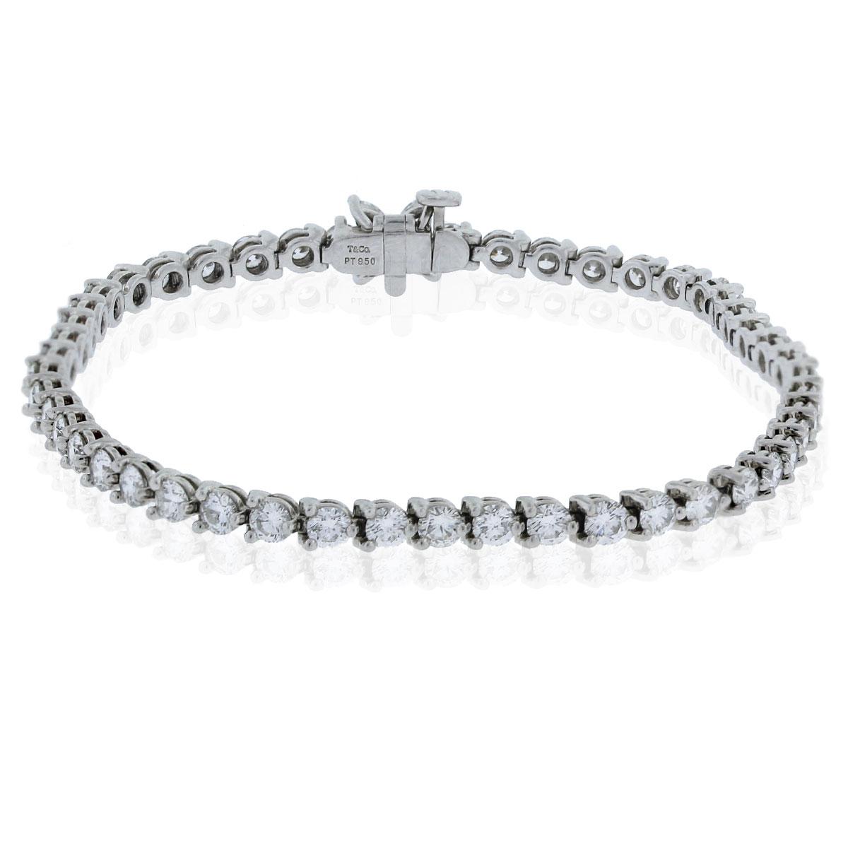 Tiffany  Co Victoria Line Platinum  Diamond Tennis Bracelet
