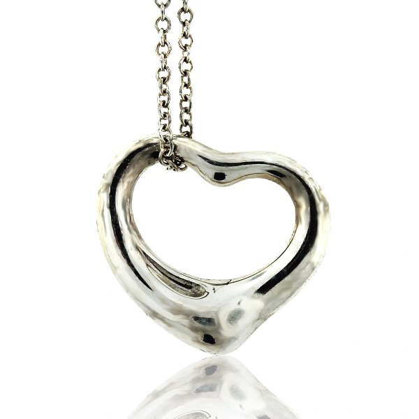 Tiffany & . Small Sterling Silver Open Heart Pendant