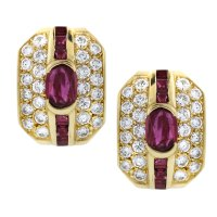 Vintage 18K Yellow Gold Ruby and Diamond Earrings