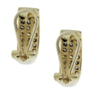 14k Yellow Gold 3 Row Diamond Huggie Earrings-Boca Raton