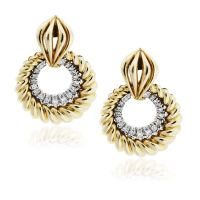 14k Yellow Gold And Diamond Dangle Drop Earrings -Boca Raton