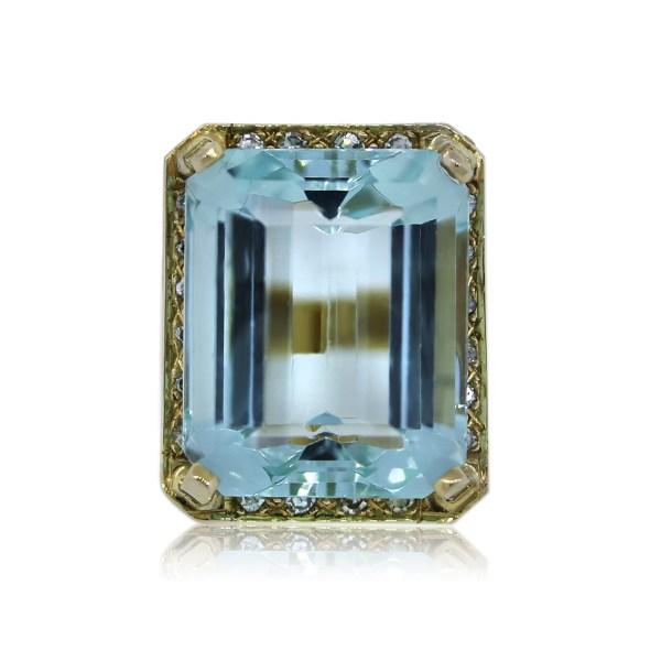 14k Yellow Gold Aquamarine And Diamond Cocktail Ring -boca