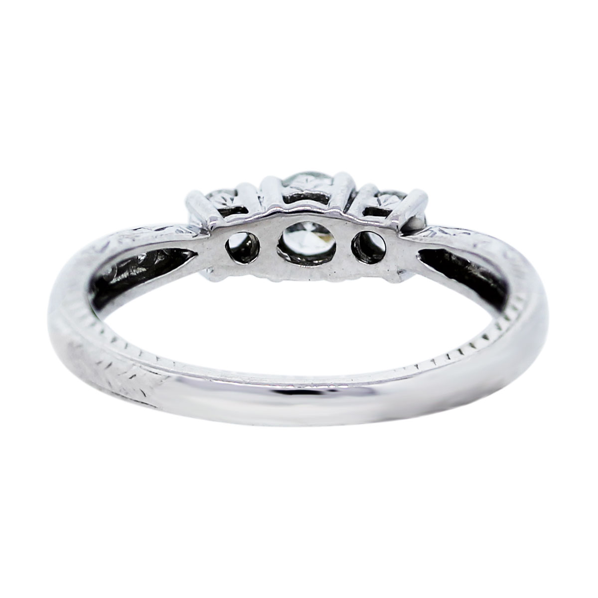14k White Gold 1/2 Carat Three Stone Diamond Engagement Ring