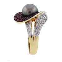 14k Yellow Gold Diamond, Ruby and Tahitian Pearl Ring-Boca ...