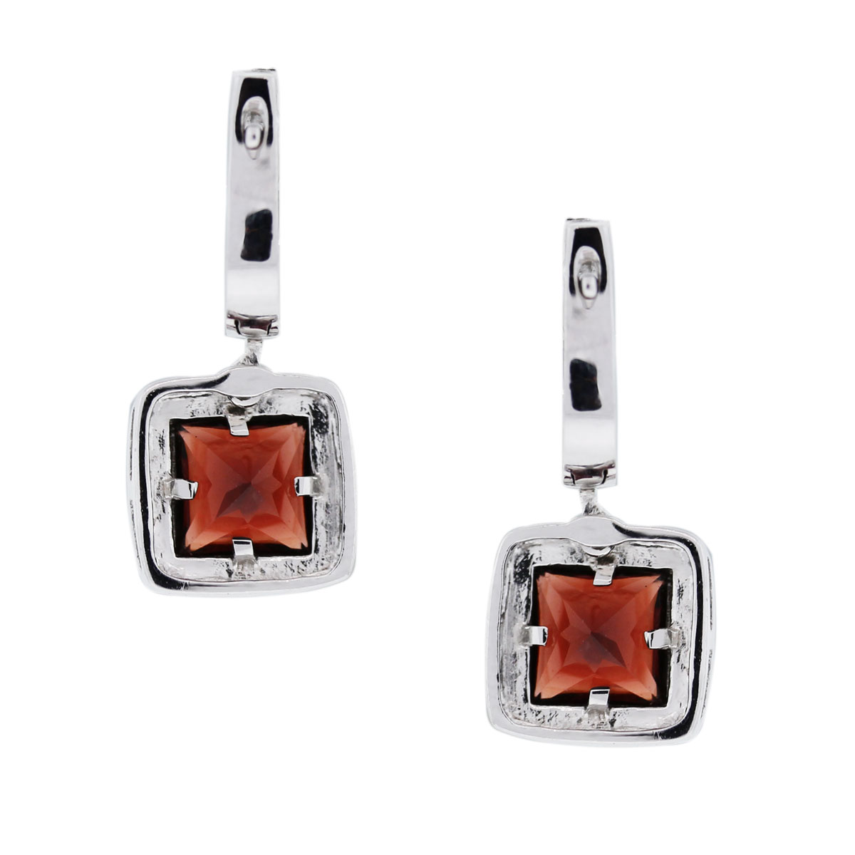 14kt White Gold Garnet Drop Dangle Earrings