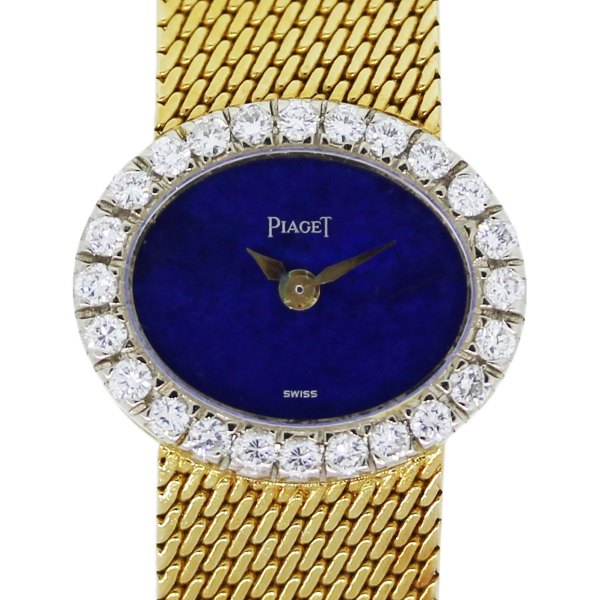 Piaget Mini 18k Yellow Gold Diamond Lapis Dial Ladies