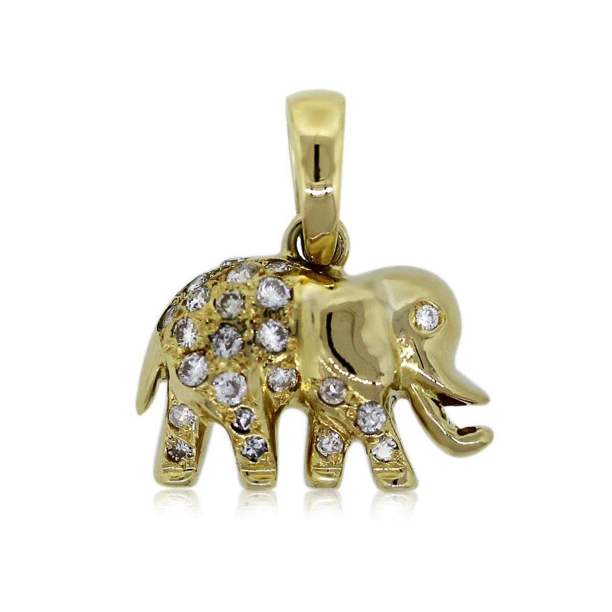 18k Yellow Gold Diamond Elephant Slide Pendant  Boca Raton