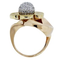 18k Yellow and Rose Gold Diamond Flower Ring