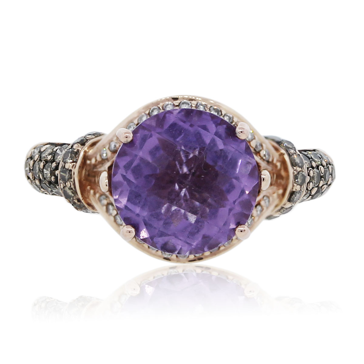Le Vian 14k Rose Gold Amethyst and Diamond Ring