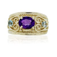 Yellow Gold Amethyst and Blue Topaz Cocktail Ring - Boca Raton