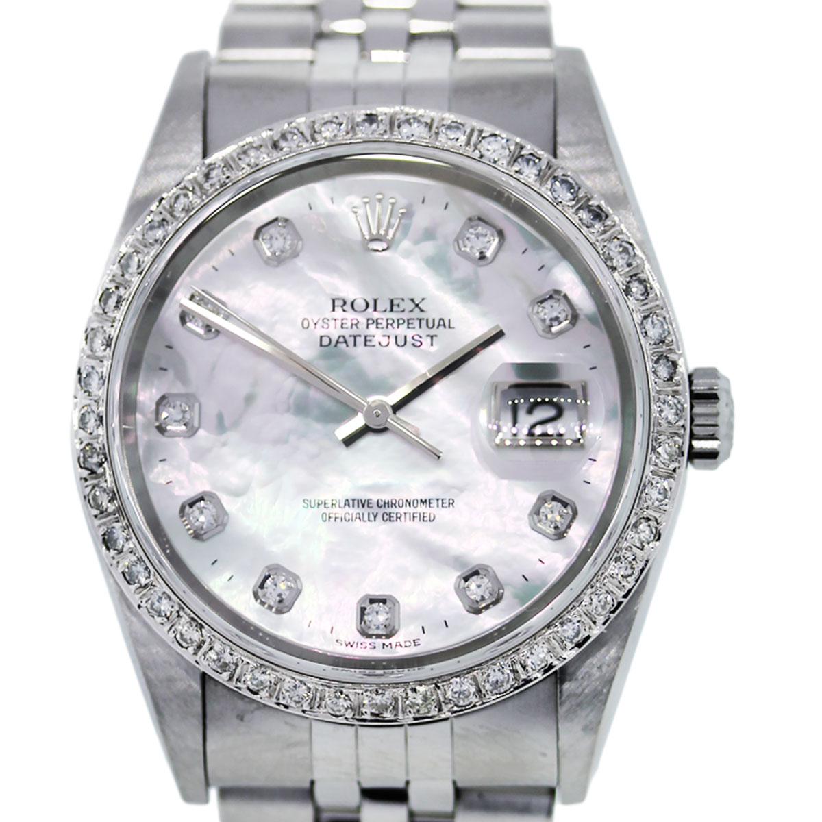 Rolex Datejust 16234 Mother of Pearl Diamond Dial Mens Watch