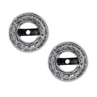 18k White Gold Round Diamond Stud Earring Jackets