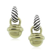 David Yurman Two Tone Acorn Cable Drop Dangle Earrings ...