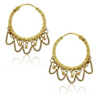 22k Yellow Hammered Gold Dangle Hoop and Chain Earrings