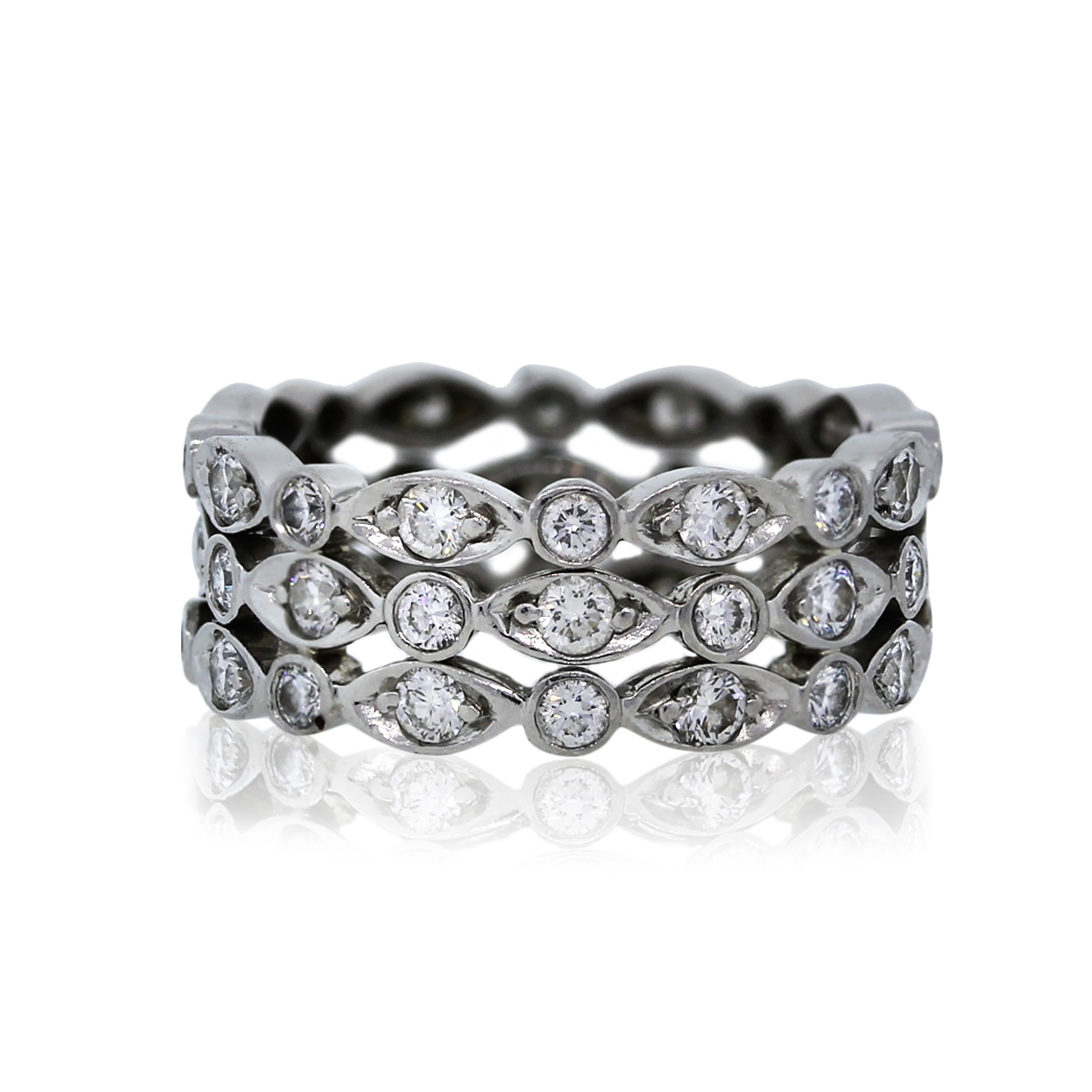 Tiffany  Co Platinum Diamond Swing Ring Eternity Band