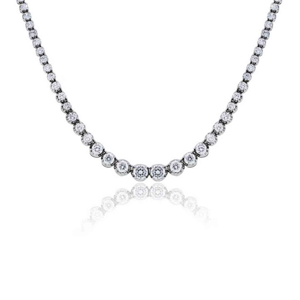 14k White Gold 85ctw Diamond Graduated Tennis Necklace