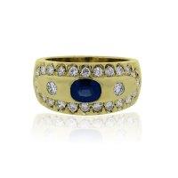 18k Yellow Gold Oval Blue Sapphire Diamond Ring - Boca Raton