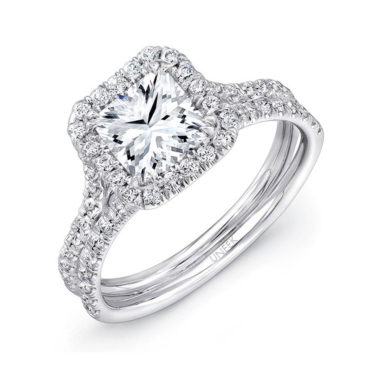 Uneek LVS899 052ctw Diamond Square Halo Engagement Ring