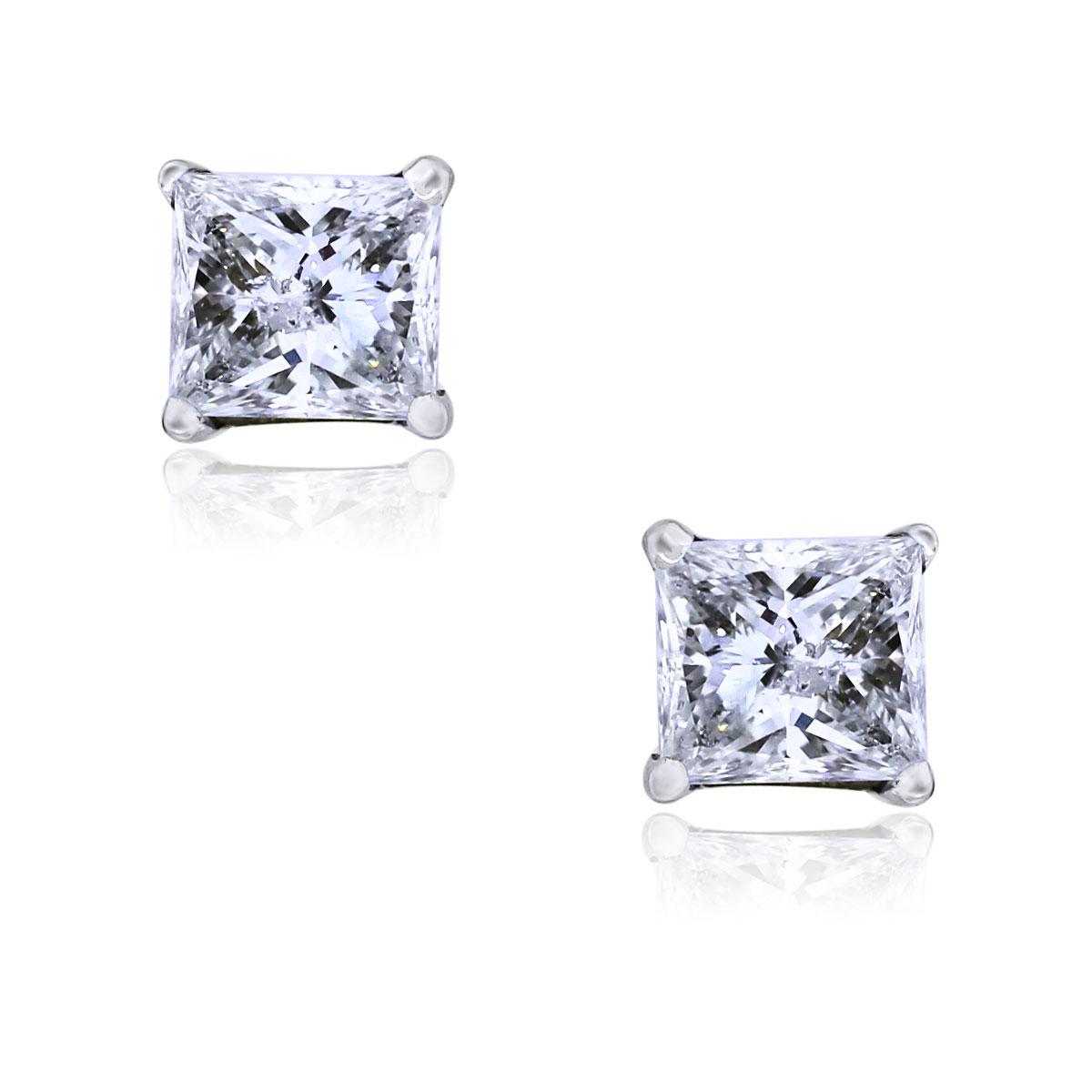 14k White Gold Princess Cut Diamond Stud Earrings Boca Raton