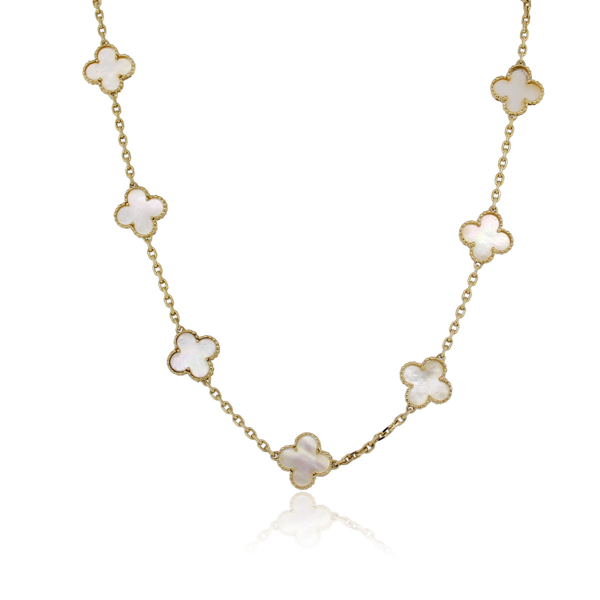 Van Cleef Amp Arpels Yellow Gold 10 Motif Alhambra Necklace