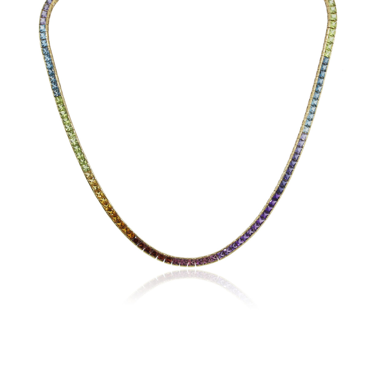 H Stern 18k Yellow Gold Multi Gemstone Rainbow Necklace
