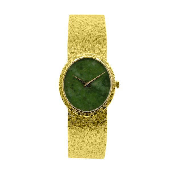 Piaget 18k Yellow Gold Jade Stone Dial Ladies Watch