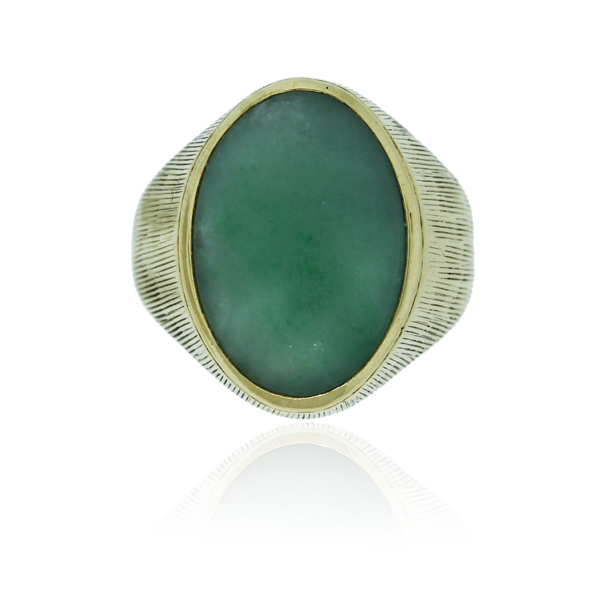 18k Yellow Gold Mens Jade Ring