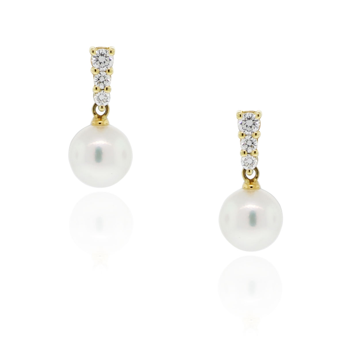 Mikimoto 18k Yellow Gold Diamond & Pearl Drop Earrings