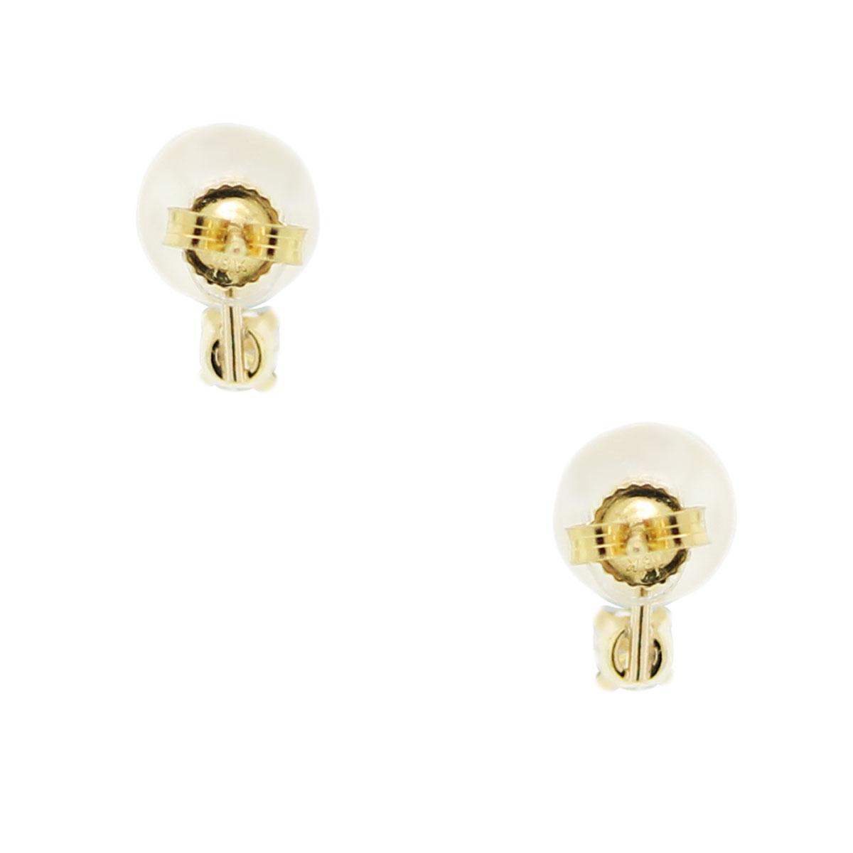 Mikimoto 18k Yellow Gold Diamond & Pearl Earrings