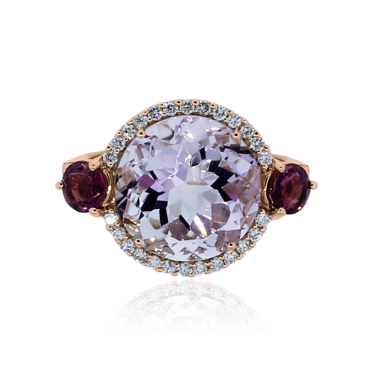 18k Rose Gold Rose Quartz Pink Tourmaline Diamond Ring