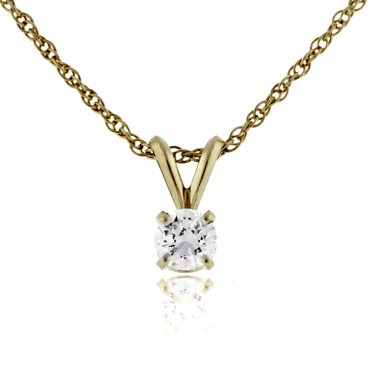 14k Yellow Gold Round Brilliant Diamond Pendant Necklace
