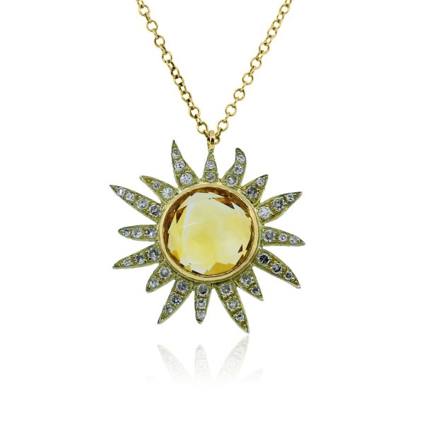 Meira T 14k Yellow Gold Citrine & Diamonds Sun Necklace