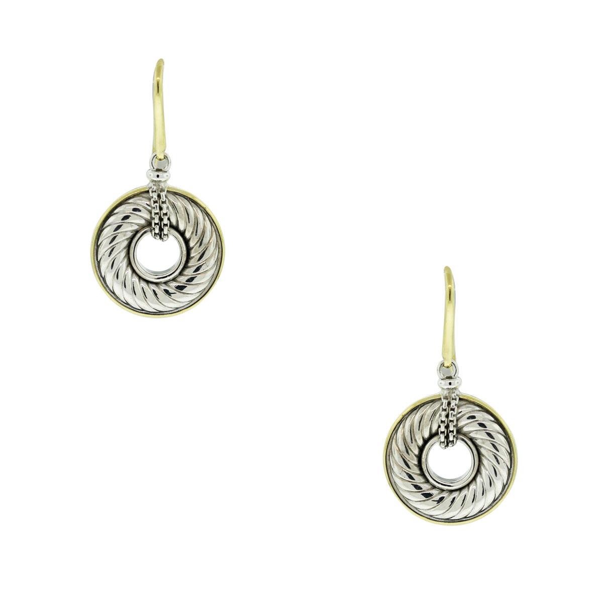 David Yurman Sterling Silver 18k Yellow Gold Disc Earrings