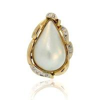 14K Yellow Gold Mabe Pearl & Diamond Ring