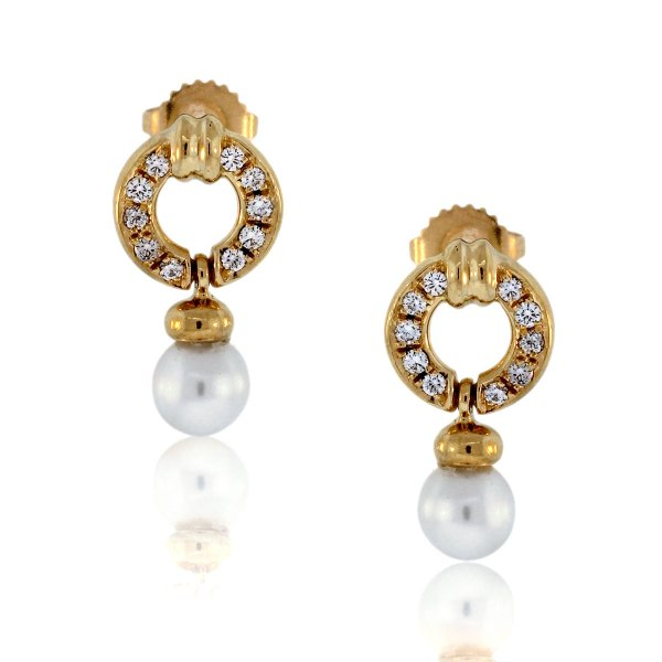 Yellow Gold Diamond and Pearl Earrings