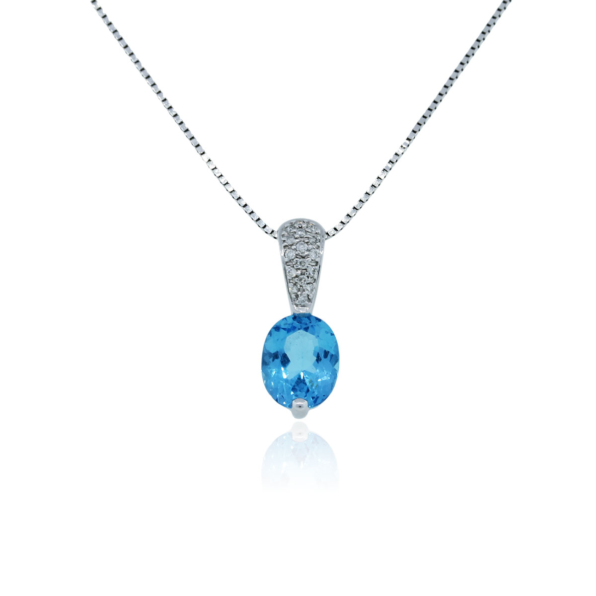 14k White Gold Blue Topaz And Diamond Pendant Necklace