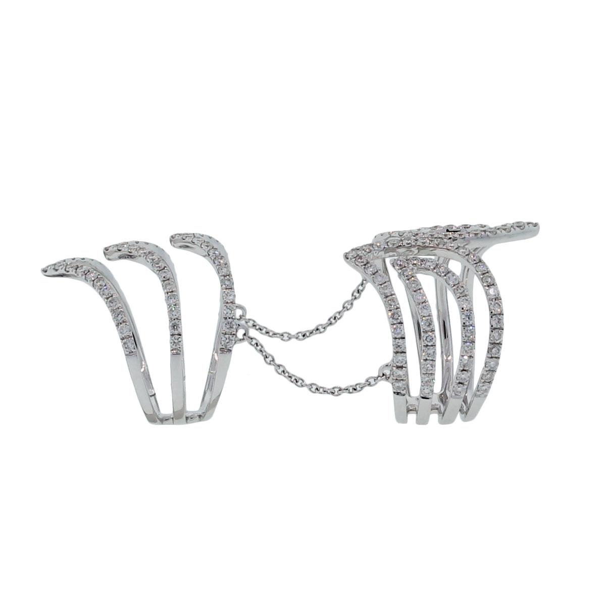 18k White Gold 1 85ctw Diamond Chain Ring