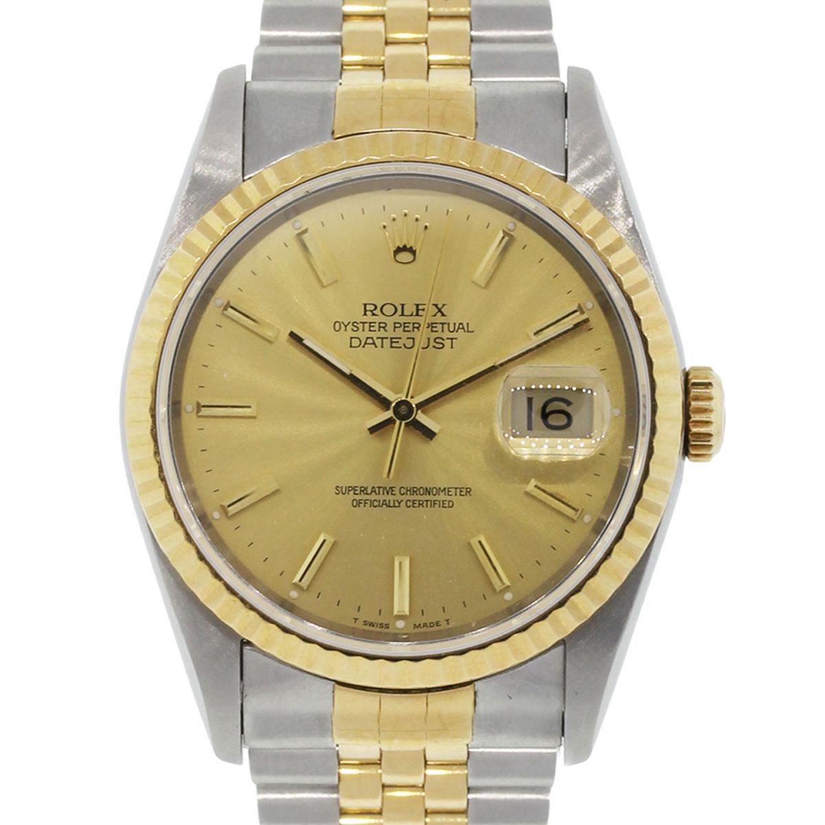Rolex Datejust 16233 TT Champagne Dial Mens Watch