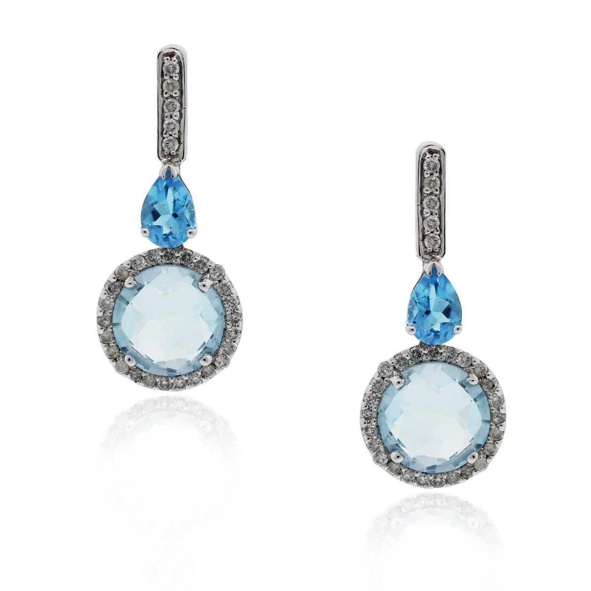 18k White Gold Diamond Blue Topaz Drop Dangle Earrings